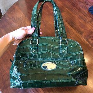 Liz Claiborne Forest Green mock croc handbag.